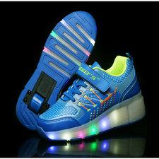 Led schoenen met wieltjes blauw
