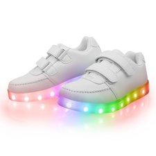 Led schoenen laag model wit met klittenband