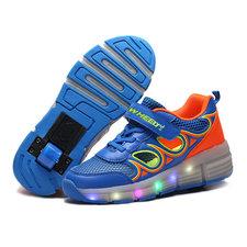 Lichtgevende kinderschoenen met wieltjes blauw