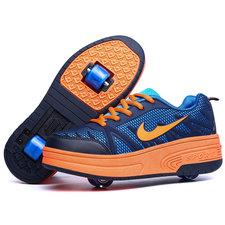 Schoenen met 4 wieltjes 'like sport donkerblauw/oranje'