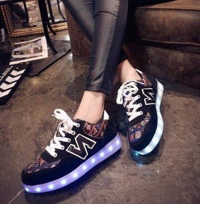 Lichtgevende sneakers led 'N black'