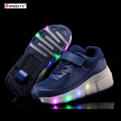 Lichtschoenen met wieltjes 'Max navy'
