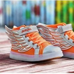 Ledschoenen 'Wings' fluor oranje/zilver Maat 25